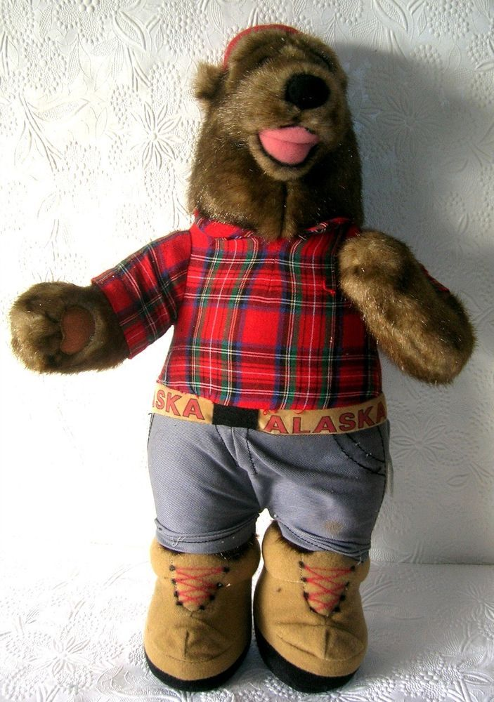 "Alaska Brown Bear Plush  15"" Tall  Jeans Plaid Shirt Snow Boots #ArcticEnterprises"