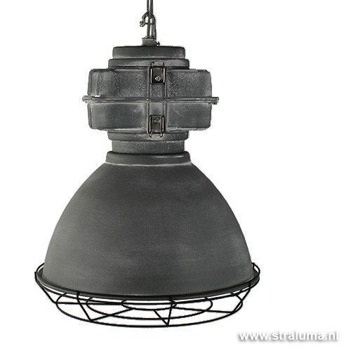 Industriële hanglamp met rooster beton