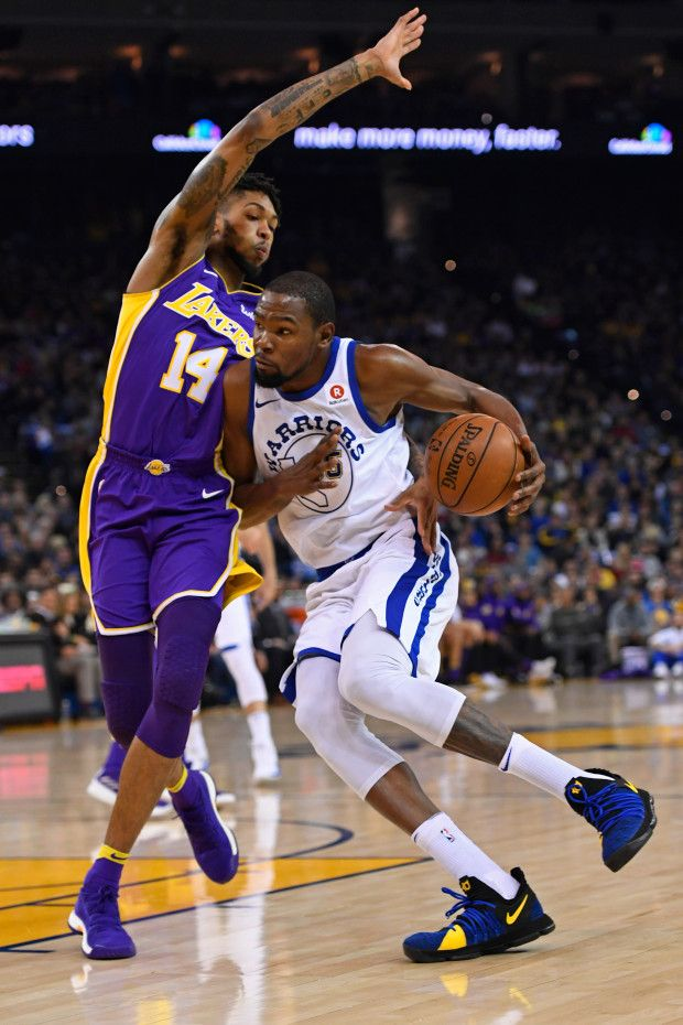Golden State Warriors Kevin Durant 35 Drives Against Los Angeles Lakers Brandon Ingram 14 During The First Quarter Of Kevin Durant Lakers Brandon Ingram