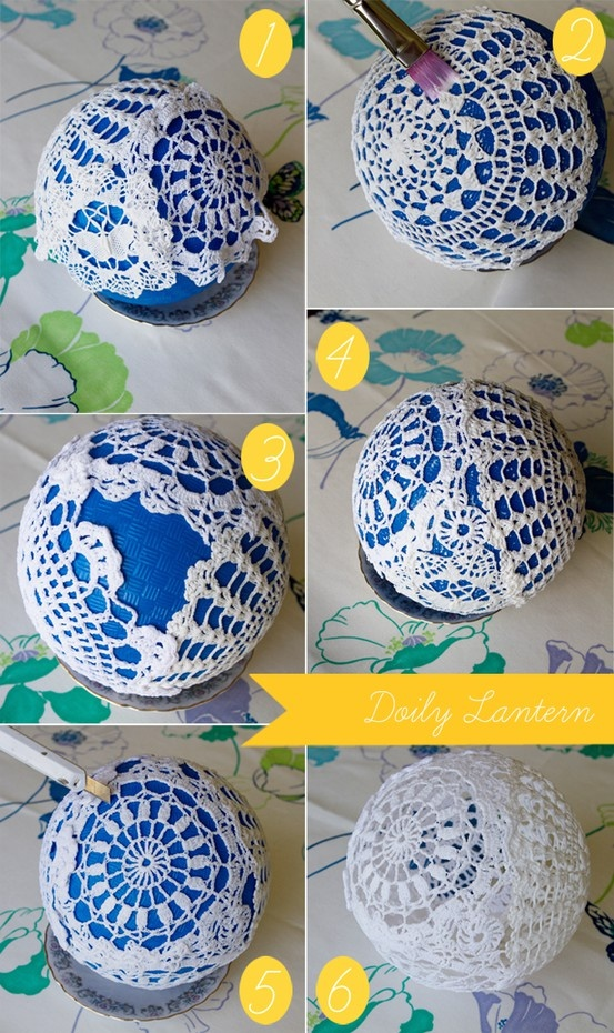 DIY...Doily Lantern: Simple steps to a stunning centerpiece! Your guests will always remember their table and the magical atmosphere your wedding exuded with these delicate doily lamps. Give them away as favors to special guests at the end of the night, or keep them all and use them as fabulous decorations in your newlywed home! OR, they can hang on a tree as an ornament.