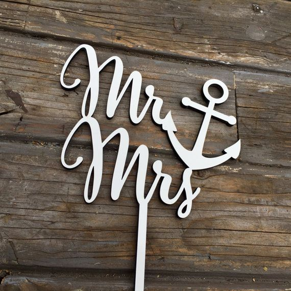 Mr Anchor Mrs Wedding Cake Topper 6 inches. Show your love with a unique Mr ♡ Mrs cake topper on your big day! [ Purchase Includes ] ♡ Mr Anchor Mrs Cake Topper, 6 inches [ Dimensions ] ♡ Width (of text): 6 inches ♡ Height (of text): 5 inches ♡ Stick Height: 4.5 inches *Dimensions are approximated in inches *Width of the Text is measured from left to right at the widest points, including swashes (decorative extension of letters). Height of the Text is measured from top to bottom at the…