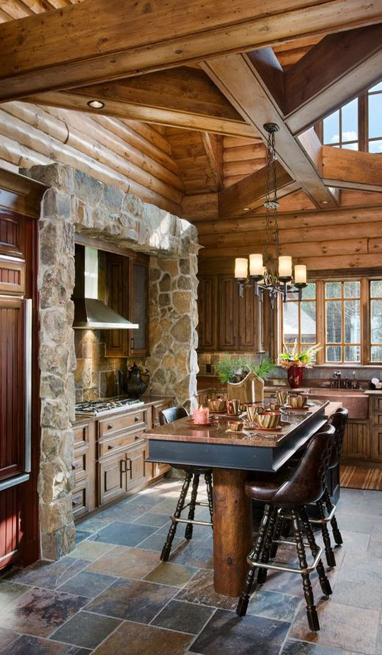 log home kitchen havent seen this type of stone surround for a stove - Log Home Kitchen Design