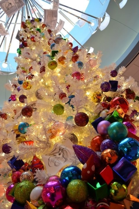 A white Christmas tree in the new Arts of Animation Resort in Walt Disney World.