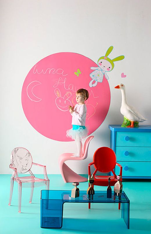 Girl's bedroom furniture, pink chalkboard wall