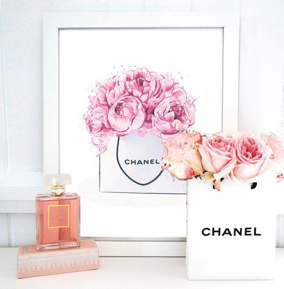Chanel wall art, fashion illustration, chanel logo, wall decor, typography art poster, watercolour illustration, high fashion wall art. stylish home