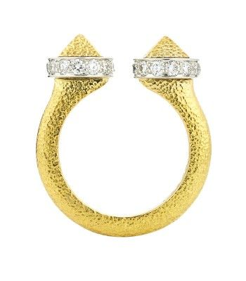 David Webb Diamond Bastille Ring - Gold Ring - ShopBAZAAR