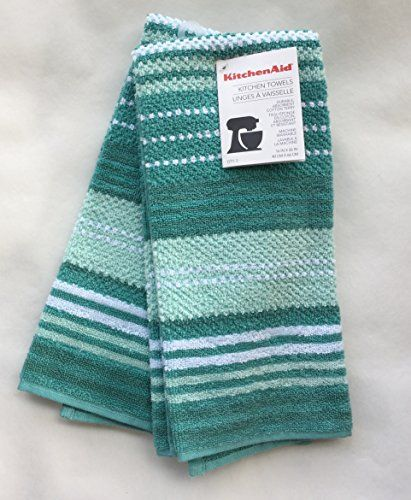 kitchenaid 100 cotton kitchen towels aqua blue turquoise stripe 2 rh pinterest com