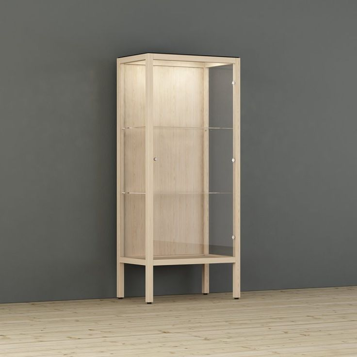 A series of display cabinets with thin finger jointed wooden frames that provide a large exposure area. The cabinets are delivered assembled with lock, shelves, lighting and weekly timer included by default. Scandinavian design. Made in Sweden. Design - Tom Stepp