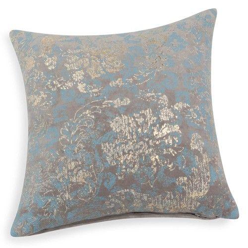 Housse de coussin en velours bleu/doré 40 x 40 cm FOUQUET