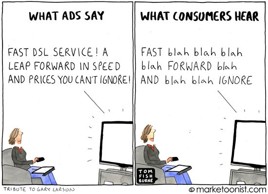 "More from Tom Fishburn -""What Ads Say"" cartoon. We talk about this in the intro to Valuable Content Marketing. Everyone skips through the adverts these days, so save your energy for creating content people actually want to find."