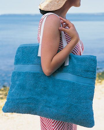 Beach towel tote bag. bath towel, hand towel and straps.