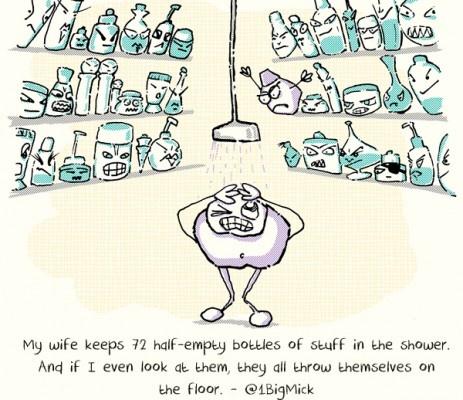 yeah, pretty much how my shower is!: Shower Cartoon, Showers, My Wife, Wifey Stuff, Funny, Half Empty Bottles, Wife S Shower
