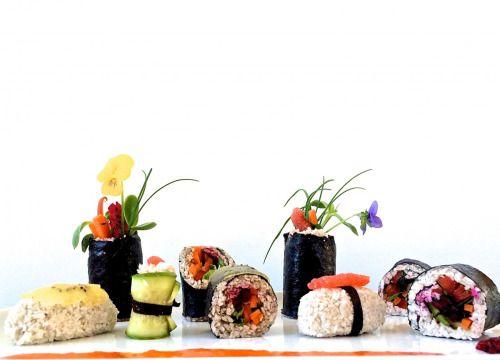 FRUIT SUSHI. coconut rice. nori. red dragon fruit. cucumber. red pepper. cherries. carrot. grapefruit & golden kiwi sashimi.beautiful work from culinary nutrition student, amanda. #mkonline