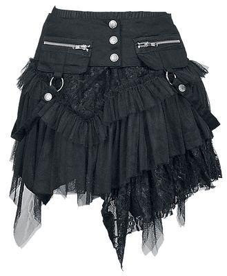 """Bellissima minigonna nera """"Cat Skirt"""" del brand KuroNeko con più strati di tessuto. lu.: 50 cm. Con cintura separata, cerniera e anelli. La minigonna è è composta da tre diverse tipologie di tessuto (A: 95% cotone e 5% elasthane + B: 80% cotone e 20% poliestere + C: 100% poliestere)."""