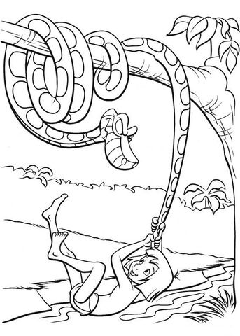 Mowgli Plays With A Tail Of Kaa Python Coloring Page Jungle Coloring Pages Jungle Book Snake Coloring Pages