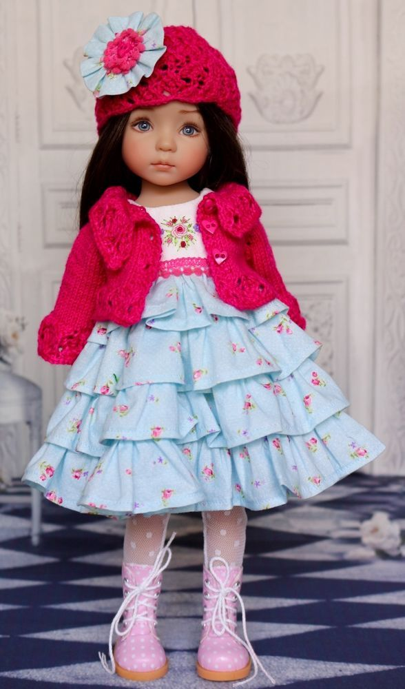 "OOAK Embroidered & Knitted Ensemble for Effner 13"" Little Darling Dolls:"