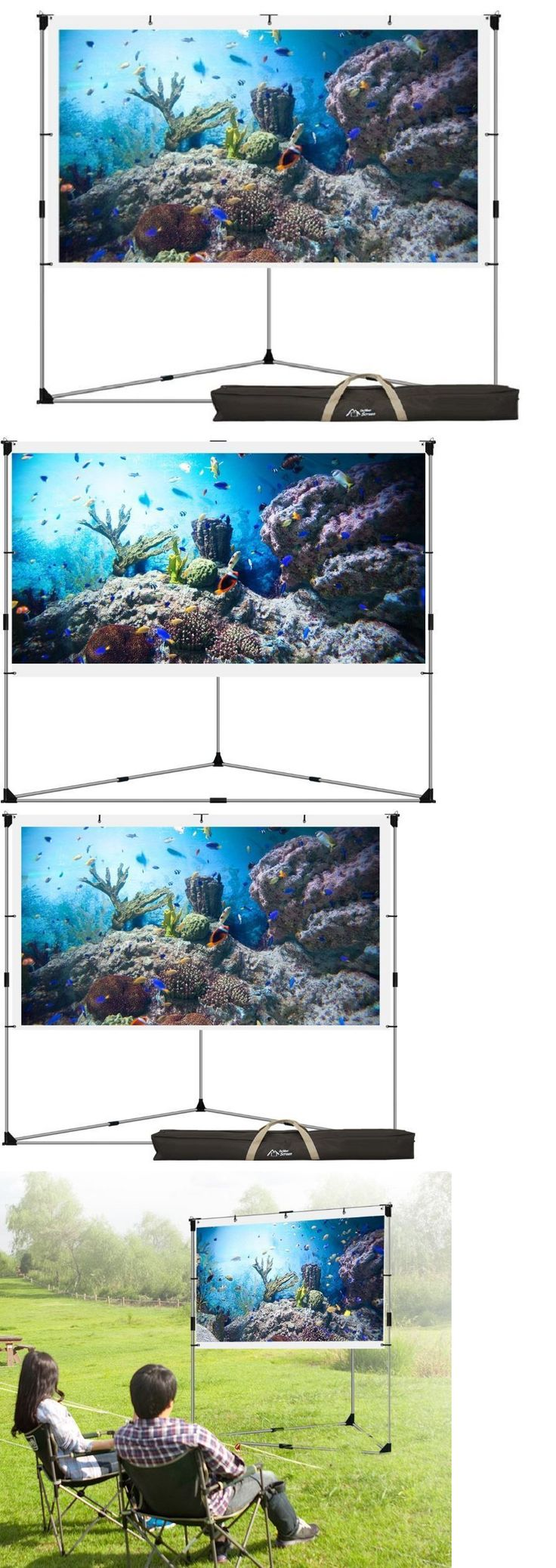 Projection Screens and Material: Video Projector Screen Outdoor Movie Portable Mobile Large Home Backyard Patio BUY IT NOW ONLY: $136.95