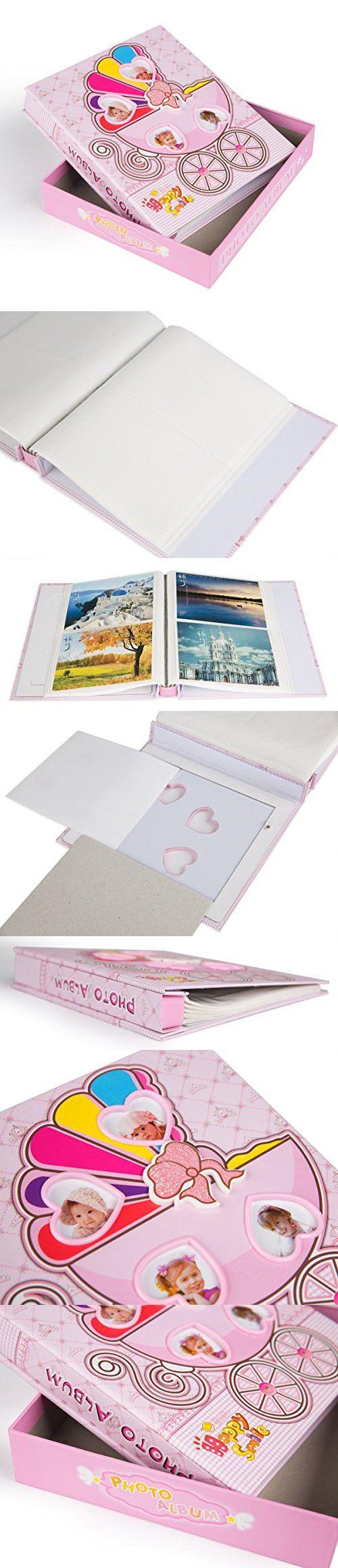 "FaCraft Baby Photo Album Holds 80 4x6 Photos ""Happy Smile"" Cute Album With Gift Storage Box (80,pink)"