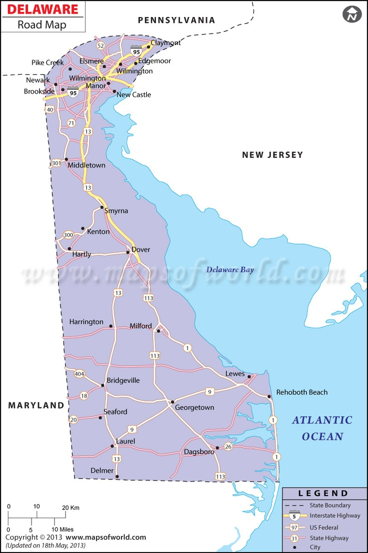 Delaware Road Map Showing The Information On The Interstate And State Highways Passing Through Cities In Delaware State Usa