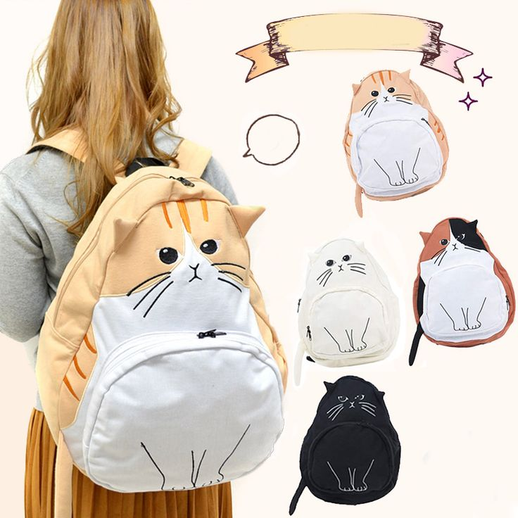 Cute kawaii cat canvas backpack