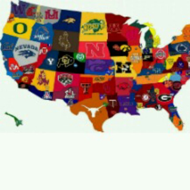 Best Football Colors Images On Pinterest Nfl Jerseys Color - Us college football map