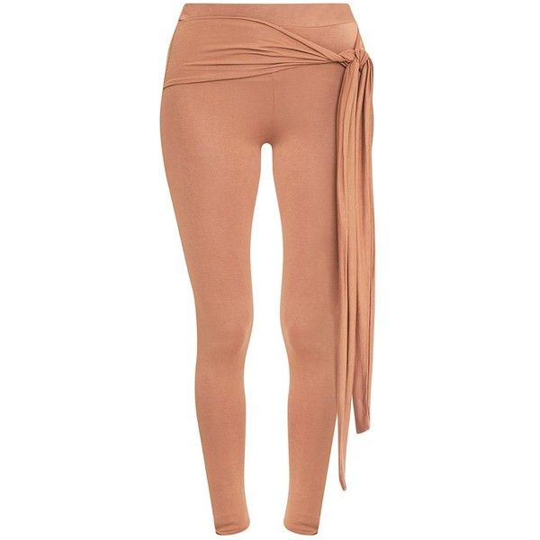 Basic Camel Tie Front Leggings ❤ liked on Polyvore featuring pants, leggings, red pants, camel trousers, camel leggings, tie front pants and camel pants