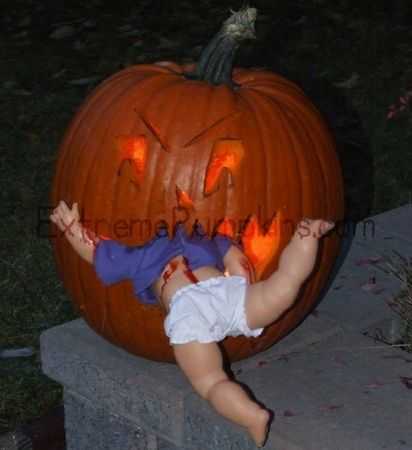 Great pumpkin for your zombie party. Baby-Eating Pumpkin