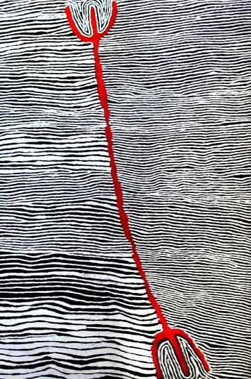 Mina Mins Hair String Story by Judy Napangardi Watson | Exhibition - Black and White At NG Gallery | Australian Aboriginal Paintings and Artworks
