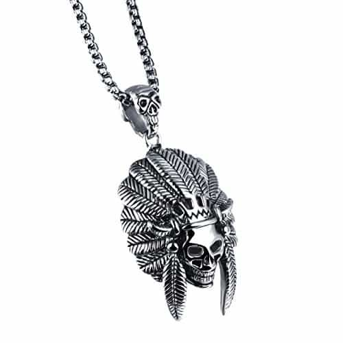Stainless Steel Native American Skull Pendant