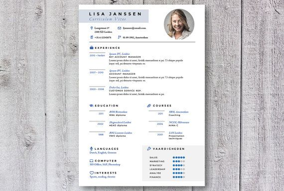 Creative & professional resume / cv template. Design by DeLeydsche. Esay to use in Word. Instant download via Etsy.