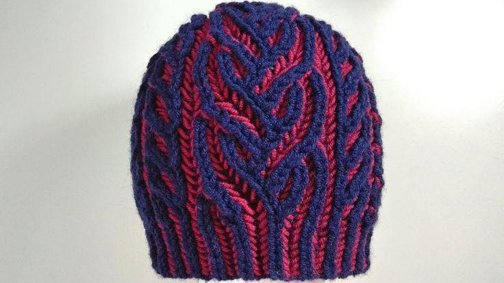 Interweave hat, two-color brioche stitch with italian/tubular cast-on