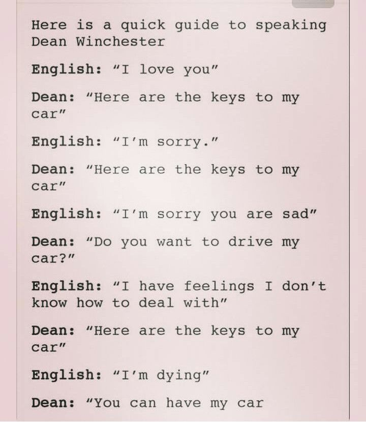 The language of Dean Winchester