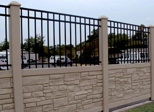 Simulated Stone Fence 3 Panels Vinyl Fence Alternatives