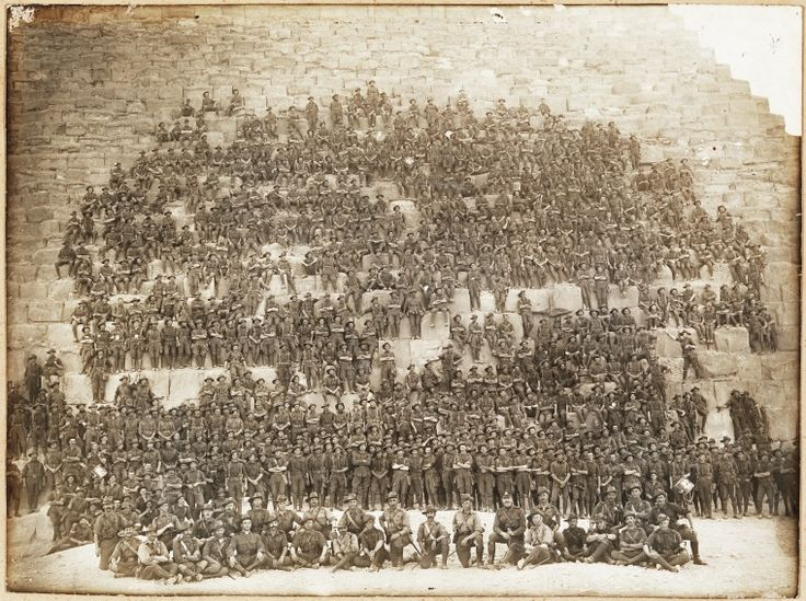 4496B: 11th Battalion A.I.F. on the steps of the Great Pyramid in Egypt, 10 January 1915 https://encore.slwa.wa.gov.au/iii/encore/record/C__Rb1964471
