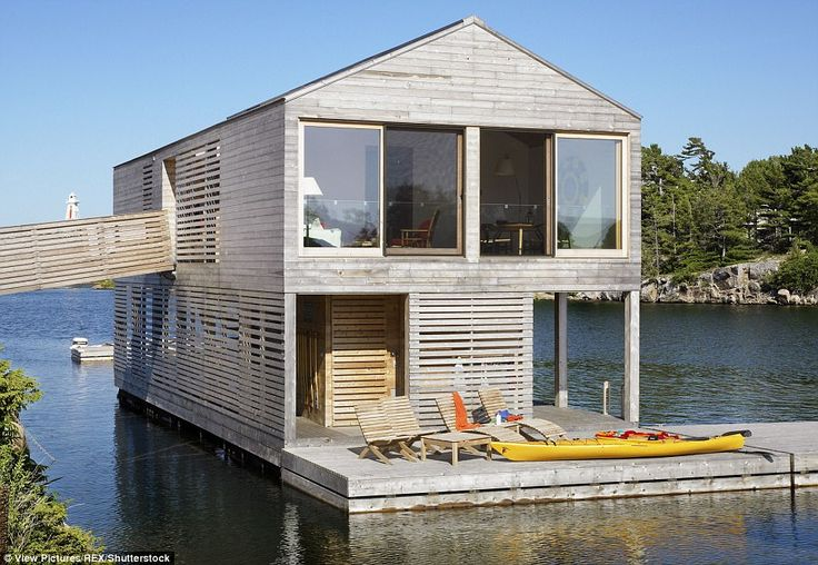This large two-storey building, named Floating House, is on the Canadian side of Lake Huron. It has plenty of deck space for water-based activities and sunbathing