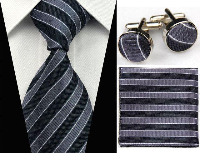 """(4""""/10cm) Wide Ties for Men Silk Handkerchief Cufflink Set"""