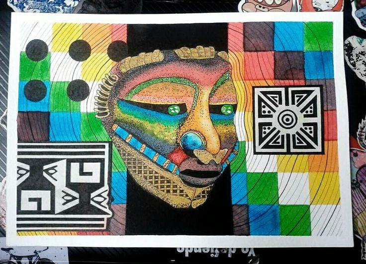 Quimbaya: máscara y motivos cerámicos. Ecolines, rapidógrafo, tinta.