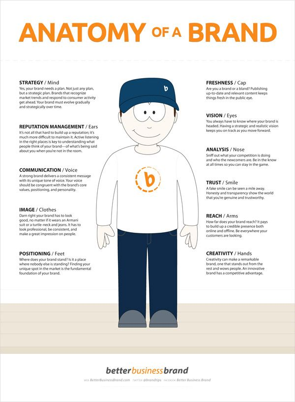 11 partes de la anatomía de una marca Anatomy of a Brand Infographic @MKDirecto