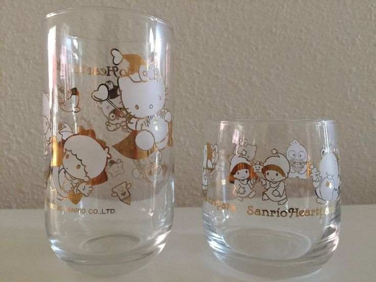 VINTAGE SUPER RARE 1990 SANRIO Hello Kitty & Friends Set of 2 Frosted Glass Cups