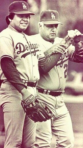 LA Dodgers - Fernando Valenzuela and Tommy Lasorda. Classic! This is around the time that I started watching baseball. #gododgers #dodgers #keepcalmandletsgododgers