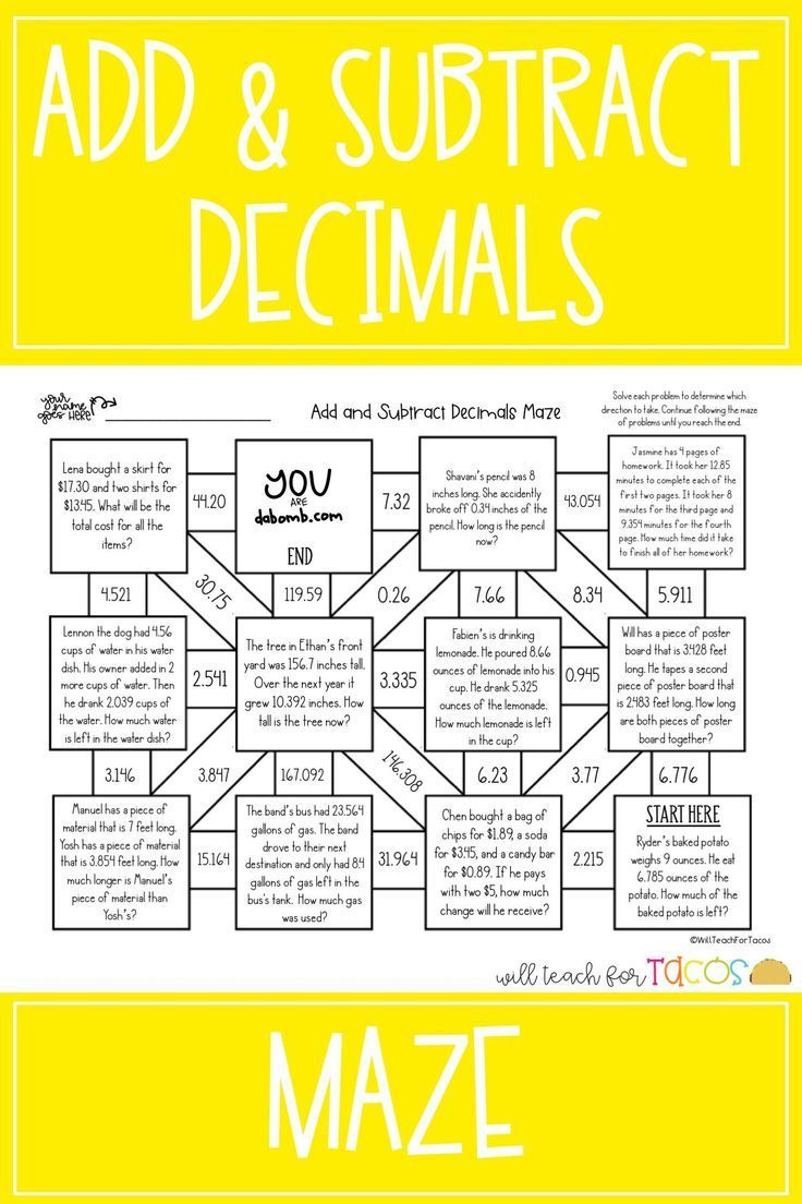 Add And Subtract Decimal Mazes For 4th And 5th Grade Two Mazes With Decimals To The Hundre Subtracting Decimals Decimal Word Problems Addition And Subtraction Estimating decimal addition and