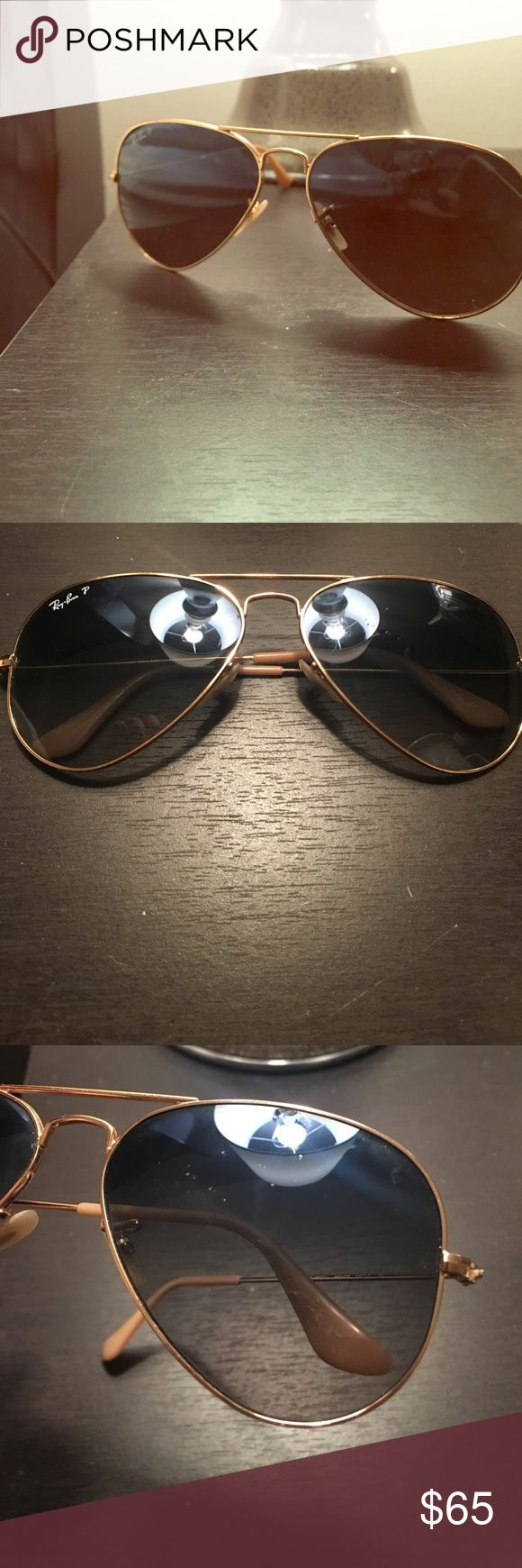 Blue aviator Polarized Ray Bans Great condition! Only a few minor scratches as shown in photos. Ray Bans Accessories Sunglasses