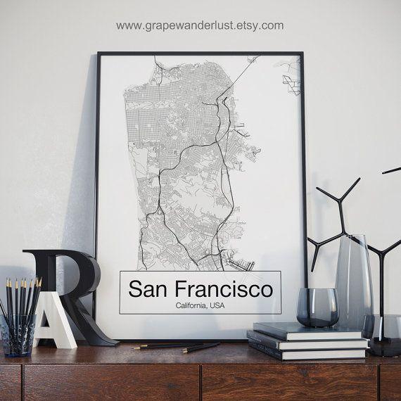 Kaart van San Francisco, San Francisco afdrukken, San Francisco art, Scandinavische stijl, minimalistische kunst, office decor, stadsplattegronden, Californië kaart