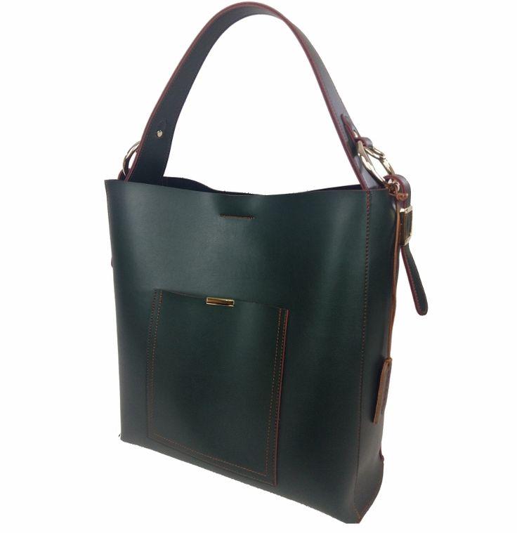Τσάντες Ωμου : Δερμάτινη Γυναικεία Τσάντα Ώμου, Πράσινο