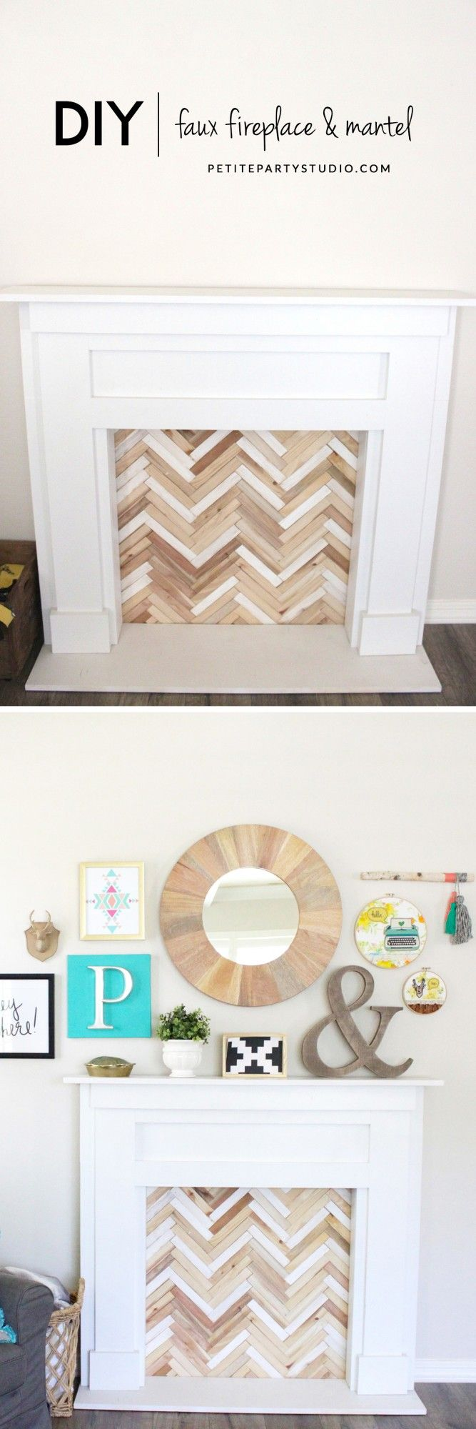 Faux Fireplace & Mantel DIY