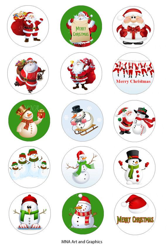 Christmas Bottle Cap Images   Santa Claus  by MNaArtAndGraphics