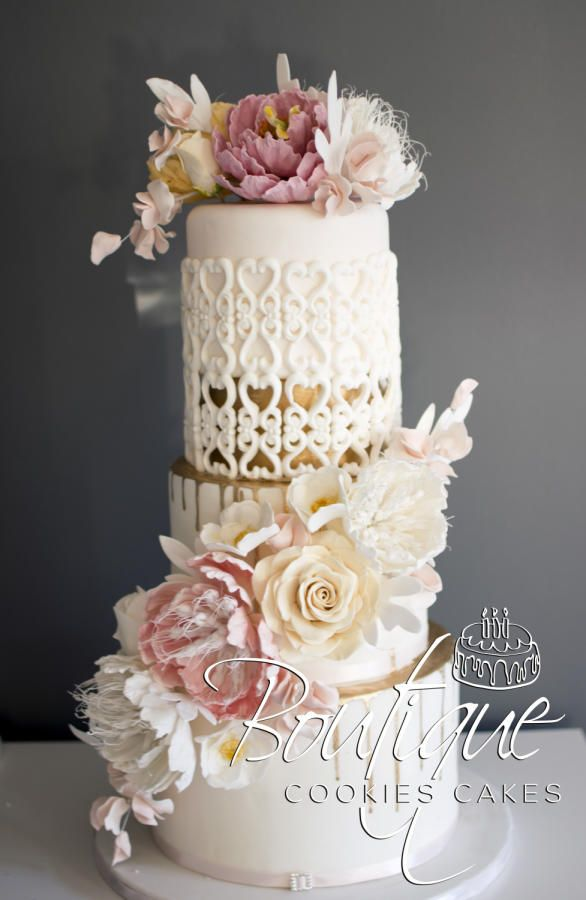 Pink and gold wedding cake by Boutique Cookies Cakes | Cakes & Cake ...