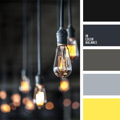 Цветовая палитра 1194 Яркий желтый цвет выглядит еще теплее на фоне нейтрально серого и черного. Так же, такой оттенок желтого добавляет свои тона серому, создавая новые цвета —  серо-коричневые или «пыльно» серые. темно-серый оттенки серо-коричневого черный теплый оттенок серого  цвет лампы