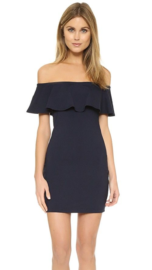 Susana Monaco Hannah Off Shoulder Dress | Ruffle trim details this fitted Susana Monaco dress. Elastic off-shoulder neckline. Cap sleeves. Unlined. Fabric: Jersey. 86% nylon/14% lycra spandex. Wash cold. Made in the USA. Measurements |  Length: 28in / 71cm, from center back Measurements from size S