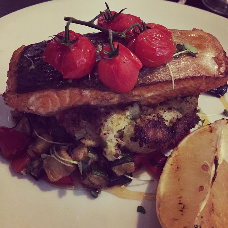 Grilled Salmon & Med Veg in miso dressing on crushed potatoes w/ mustard seeds #eatateno